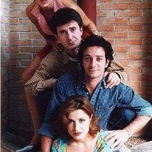 Una foto promozionale con i quattro protagonisti di Nati Stanchi: Salvatore Ficarra, Valentino Picone, Marica Coco e Stefania Bonafede