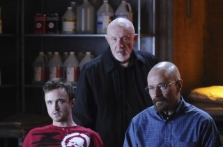 Jonathan Banks, Bryan Cranston ed Aaron Paul nell'episodio Box Cutter di Breaking Bad
