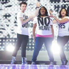 Chris Colfer, Amber Riley e Jenna Ushkowitz in Glee: The 3D Concert Movie