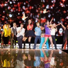 Il cast di Glee: The 3D Concert Movie in scena