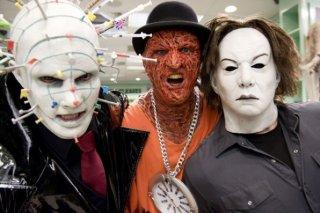 Tre mostruosi personaggi del film Horror Movie: Charles Zuckermann è Needlehead, Ben Cotton è Fweddy e Lee Tichon è MIchael Crier.