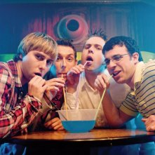 James Buckley, Simon Bird, Joe Thomas e Blake Harrison in una immagine di The Inbetweeners Movie