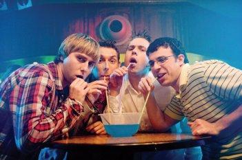 James Buckley, Simon Bird, Joe Thomas e Blake Harrison in una immagine di The Inbetweeners Movie