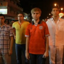 James Buckley, Simon Bird, Joe Thomas e Blake Harrison in una scena di The Inbetweeners Movie
