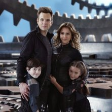 Joel McHale, Mason Cook, Jessica Alba e Rowan Blanchard in Spy Kids: All the Time in the World