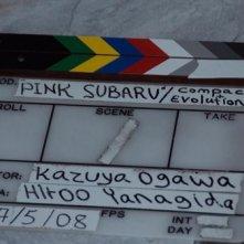 Una immagine dal set di Pink Subaru