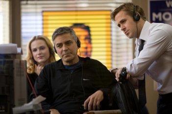 George Clooney sul set de Le idi di marzo con Evan Rachel Wood e Ryan Gosling