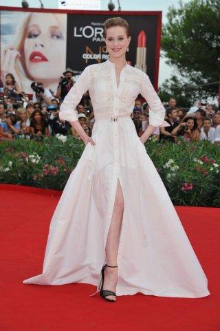 Evan Rachel Wood sul tappeto rosso della Mostra del Cinema di Venezia 2011 per presentare Le idi di Marzo