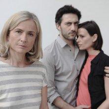 Cristina Comencini con Filippo Timi e Claudia Pandolfi in una foto promozionale per Quando la notte.