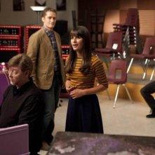 Glee: Lea Michele e Matthew Morrison una scena dell'episodio The Purple Piano Project