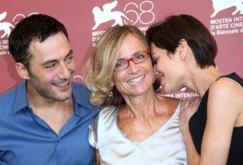 Mostra del Cinema di Venezia 2011: Filippo Timi e Claudia Pandolfi con Cristina Comencini, autrice di Quando la notte