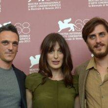 Luca Marinelli con Anna Bellato e Gabriele Spinelli a Venezia 2011 con L'ultimo Terrestre