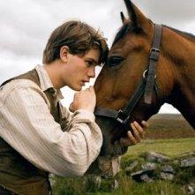 Jeremy Irvine in una scena di War Horse