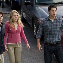 Emma Bell, Nicholas D'Agosto e Miles Fisher in una scena di Final Destination 5