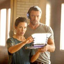 Hugh Jackman ed Evangeline Lily in Real Steel