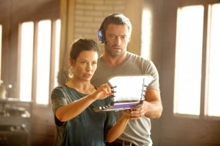 Hugh Jackman ed Evangeline Lily in Real Steel