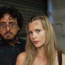 Massimo De Lorenzo e Harriet MacMasters-Green sul set di Parking Lot 3D