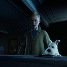 Le Avventure di Tintin: il Segreto dell'Unicorno, Tintin e il suo cagnolino in una scena del film