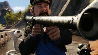 Capitan Haddock prende la mira in una scena di Le Avventure di Tintin: il segreto dell'Unicorno