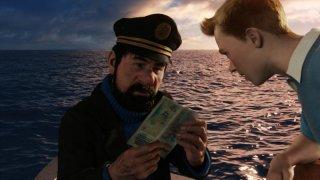 Le Avventure di Tintin: il Segreto dell'Unicorno, il capitano Haddock in barca con Tintin in una scena del film