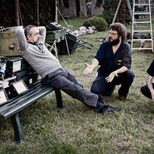 Silvio Orlando, il regista Francesco Lagi e Francesco Brandi sul set di Missione di pace