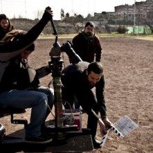 Francesco Del Grosso insieme alla sua troupe sul set del documentario 11 metri, dedicato ad Agostino Di Bartolomei