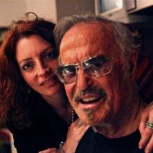 Franco Califano insieme alla produttrice Chiara Tilesi durante le riprese del documentario Noi di settembre