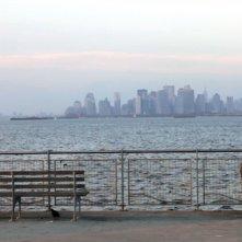 David: Muatasem Mishal in solitudine su una panchina guarda lo skyline in una scena del film