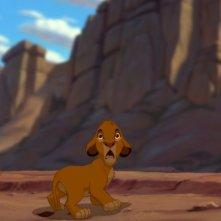 Il piccolo Simba si guarda intorno impaurito in una scena de Il re leone 3D