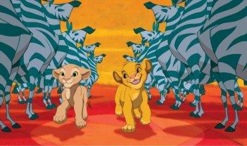 Nala e Simba in una coloratissima scena de Il re leone 3D