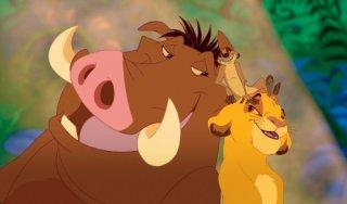 Pumbaa,Timon e Simba in una tenera immagine de Il re leone 3D