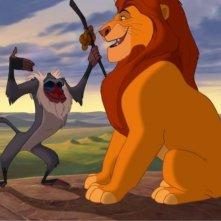 Rafiki e Mufasa in una scena del film Il re leone 3D