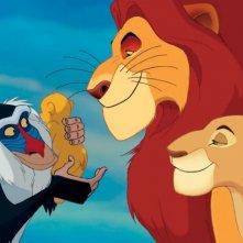 Rafiki, Mufasa e Simba in una scena del film Il re leone 3D