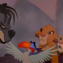 Shenzi, Zazu, Simba e Nala in un curioso siparietto de Il re leone 3D