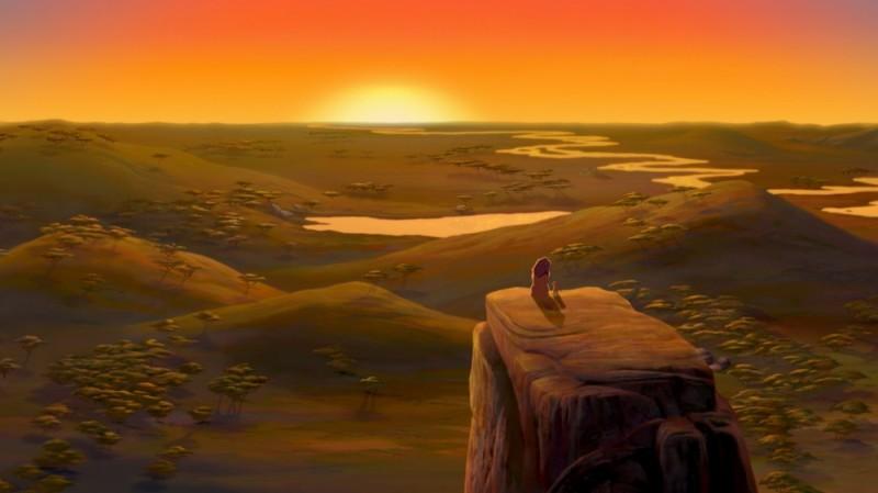 Simba E Mufasa Guardano Il Panorama Al Tramonto In Una Scena Del Film Il Re Leone 3D 219342