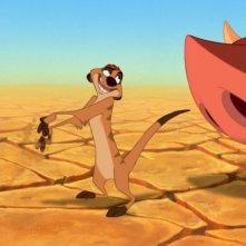 Timon e Pumbaa discutono in una scena de Il re leone 3D