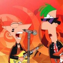 Phineas e Ferb The Movie - Nella seconda dimensione: i protagonisti si esibiscono in una scena del film