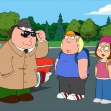 Peter Griffin con i figli Meg e Chris in una scena di Foreign Affairs de I Griffin