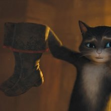 Il gatto con gli stivali in una scena del film della Dreamworks