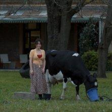 Muriel Santa Ana sorride accanto ad una mucca in una scena di Un cuento chino