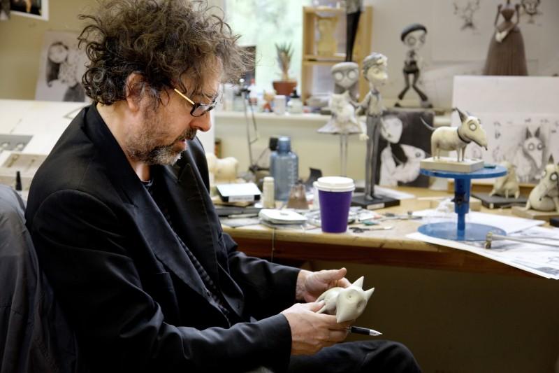 Tim Burton sul set del suo Frankenweenie