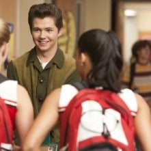 Glee: Damian McGinty, Heather Morris e Naya Rivera in una scena dell'episodio Pot O' Gold