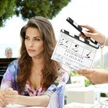 Ariadna Romero sul set di Finalmente la felicità prima del ciak