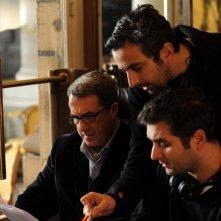 François Cluzet sul set di Intouchables con Eric Toledano e Olivier Nakache