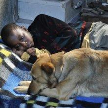 Il piccolo Blondin Miguel insieme al suo cane in una scena del film Miracolo a Le Havre