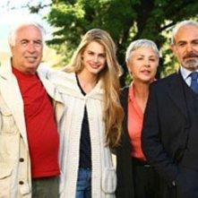 Vanessa Hessler, Ottavia Piccolo, Andrea Tidona e il regista Vittorio Sindoni sul set della miniserie Rai, La ragazza americana