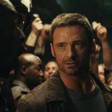 Hugh Jackman nei panni di Charlie Kenton nel film Real Steel