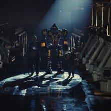 Real Steel: Hugh Jackman e Dakota Goyo in una suggestiva immagine tratta dal film