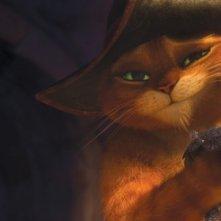 Il gatto con gli stivali: un sorriso beffardo del protagonista felino del nuovo film animato della Dreamworks