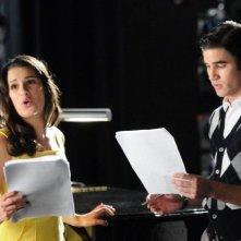 Glee: Lea Michele e Darren Criss in una scena dell'episodio The First Time